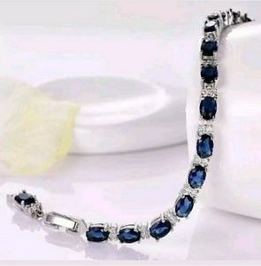 71 Ct.t.w. Blue Sapphire/White Topaz Bracelet